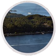 Aerial View Of Ferry Boats On Puget Sound One Leaving Bainbridge Round Beach Towel