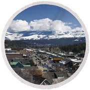 Aerial View Of Historic Downtown Truckee California Round Beach Towel