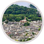 Aerial View Of Keswick In The Lake District Cumbria Round Beach Towel