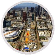 Aerial View Of Los Angeles Round Beach Towel