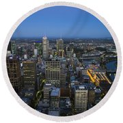 Aerial View Of Melbourne At Night Round Beach Towel