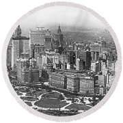 Aerial View Of Nyc Battery Round Beach Towel