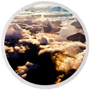 Aerial View Of Pacific Coast Of Bc Canada Round Beach Towel