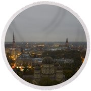 Aerial View Of Riga Round Beach Towel