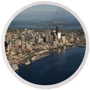 Aerial View Of Seattle Skyline With Elliott Bay And Ferry Boat Round Beach Towel