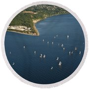 Aerial View Of Seattle Skyline With Sailboat Race On Puget Sound Round Beach Towel