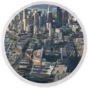 Aerial View Of Seattle Skyline With The Pro Sports Stadiums Round Beach Towel