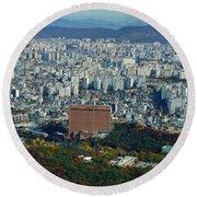 Aerial View Of Seoul South Korea Round Beach Towel