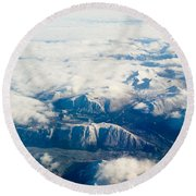 Aerial View Of Snowcapped Mountains In Bc Canada Round Beach Towel