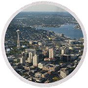 Aerial View Of Space Needle And Lake Union Round Beach Towel