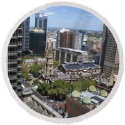 Aerial View Of Sydney City Hall Round Beach Towel