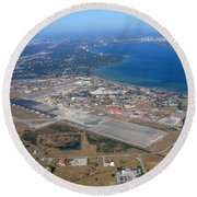 Aerial View Of Tampa And St. Petersburg Round Beach Towel