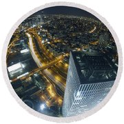 Aerial View Of Tel Aviv Round Beach Towel