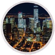 Aerial View Of The Lower Manhattan Skyscrapers By Night Round Beach Towel