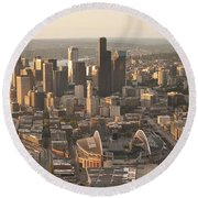 Aerial View Of The Seattle Skyline With Stadiums Round Beach Towel