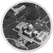 Aerial View Of U.s. Capitol Round Beach Towel