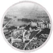 Aerial View Of Windsor Castle. Round Beach Towel