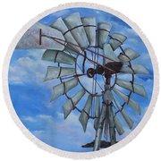 Aermotor Windmill Round Beach Towel