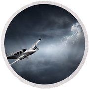 Risk - Aeroplane In Thunderstorm Round Beach Towel