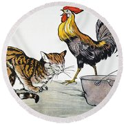 Aesop: Cat, Cock, And Mouse Round Beach Towel