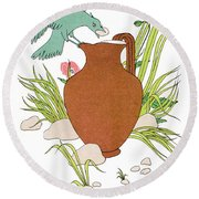 Aesop: Crow & Pitcher Round Beach Towel