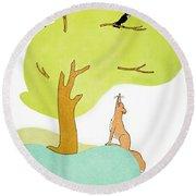 Aesop: Fox & Crow Round Beach Towel