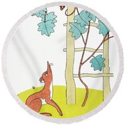 Aesop: Fox And Grapes Round Beach Towel