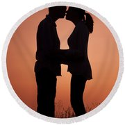 Affectionate Couple At Sunset In Profile  Round Beach Towel