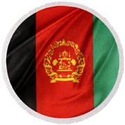Afghanistan Flag Round Beach Towel by Les Cunliffe