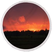 Aflame Round Beach Towel