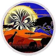 Africa At Sunset  Round Beach Towel