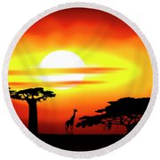 Africa Sunset Round Beach Towel