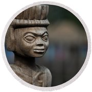 African Aging Wooden Sculpture Round Beach Towel