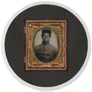 African American Union Soldier Round Beach Towel