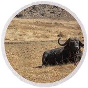 African Buffalo V2 Round Beach Towel