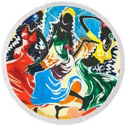African Dancers No. 2 Round Beach Towel