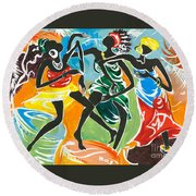 African Dancers No. 3 Round Beach Towel