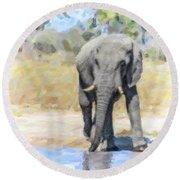 African Elephant At Waterhole Round Beach Towel