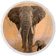 African Elephants Round Beach Towel