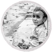 African Girl Remastered Round Beach Towel