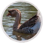 African Goose Round Beach Towel