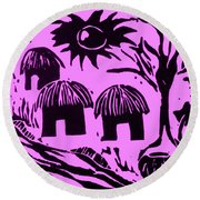 African Huts Pink Round Beach Towel