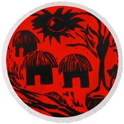 African Huts Red Round Beach Towel