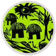 African Huts Yellow Round Beach Towel by Caroline Street