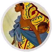 African Mother And Child Round Beach Towel