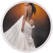 African Nude And White Cloth 1036.02 Round Beach Towel