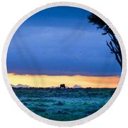 African Panoramic Sunset Landscape Round Beach Towel