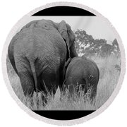 African Safari Elephants 3 Round Beach Towel