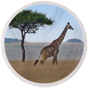 African Safari Giraffes 2 Round Beach Towel
