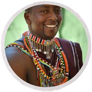 African Smile Round Beach Towel